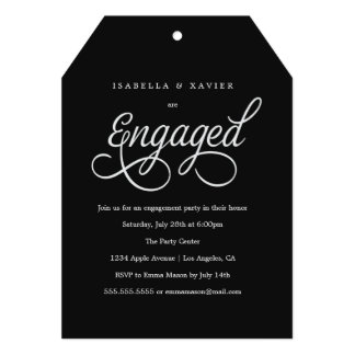 Engaged Script | Custom Color Engagement Party Card