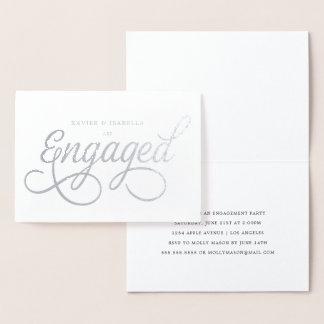 Engaged Script Real Foil Engagement Party Foil Card