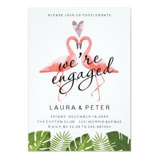 Engagement announcement | flamingos tropical leaf