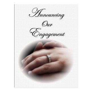 Engagement Announcement Hand with Ring Postcard