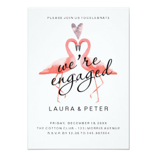 Engagement announcement | Kissing flamingos