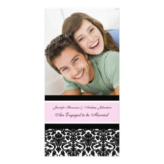 Engagement Announcement Photo Card Pink Damask