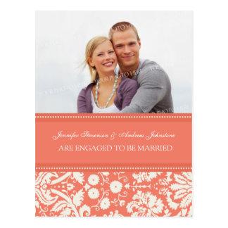 Engagement Announcement Photo Postcard Cora Damask