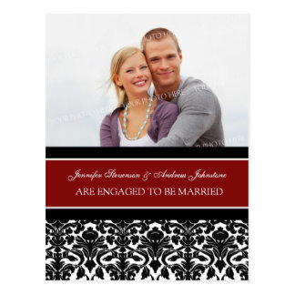 Engagement Announcement Photo Postcard Red Damask
