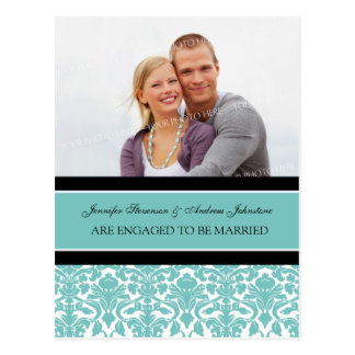 Engagement Announcement Photo Postcard Teal Damask