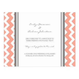 Engagement Announcement Postcard Coral Grey