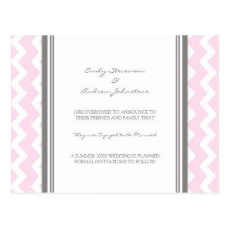 Engagement Announcement Postcard Pink Grey