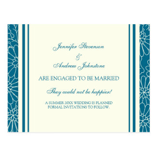 Engagement Announcement Postcards Blue and Cream