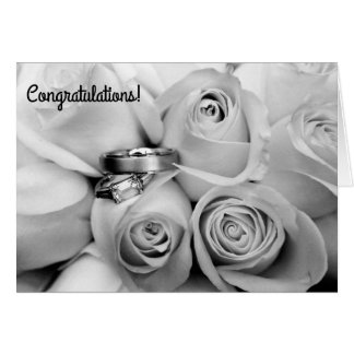 engagement congratuations black and white note car card
