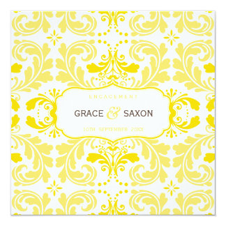 ENGAGEMENT INVITATION style savvy damask yellow