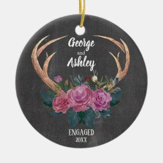 Engagement ornament | Antler floral 1st Christmas