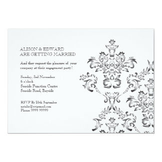 Engagement Party Black & White Damask Invite