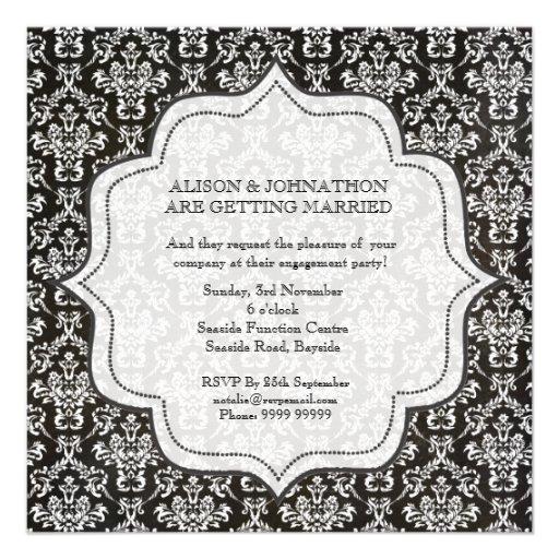 Engagement Party Black & White Damask Invite