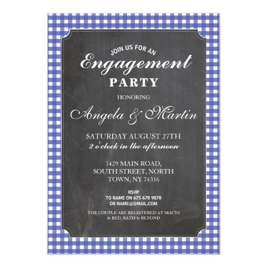 Engagement Party Blue Check Chalk Invite