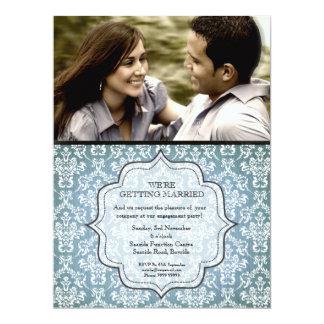 Engagement Party Blue Grunge Damask Photo Invite
