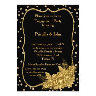 Engagement Party, cold roses & gold foil confetti Card