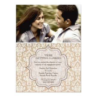 Engagement Party Country Antique Damask Invite