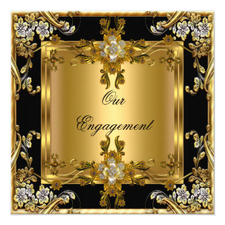 "Engagement Party Elegant Gold Floral Jewel Black 5.25"" Square Invitation Card"