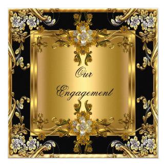 "Engagement Party Elegant Gold Floral Jewel Black 5.25"" Square Invitation Card"