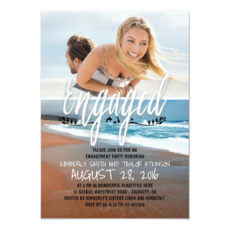 Engagement Party Engaged Photo Beach Card