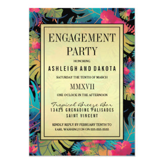 Engagement Party | Exotic Tropical Flowers Card