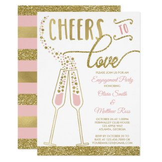 Engagement Party Invitation, Faux Glitter & Foil Card