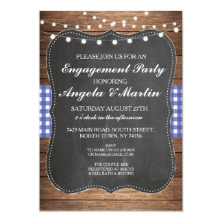 Engagement Party Lights Blue Check Wood Invite