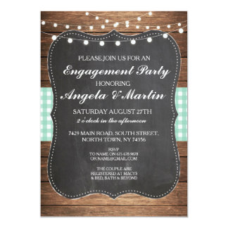 Engagement Party Lights Mint Check Wood Invite