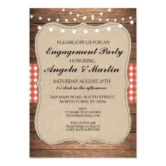 Engagement Party Lights Red Check Wood Invite