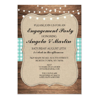Engagement Party Lights Teal Check Wood Invite