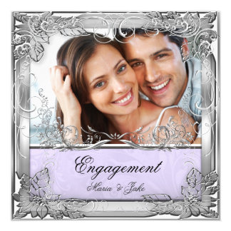 Engagement Party Lilac White Silver Photo Card