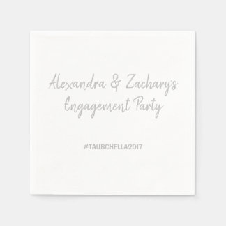Engagement Party Napkins with Hashtag Silver