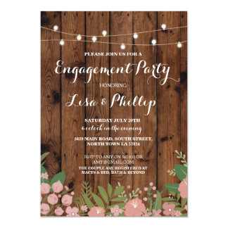 Engagement Party Rustic Shower Floral Wood Invite