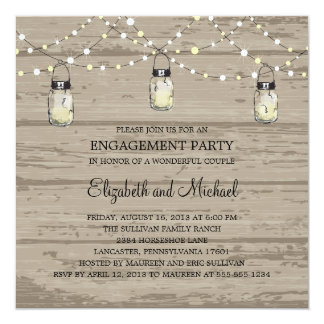 "Engagement Party Rustic Wood Mason Jar and Lights 5.25"" Square Invitation Card"