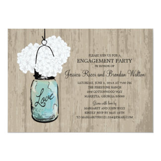 Engagement Party Rustic Wood Mason Jar Hydrangeas Card