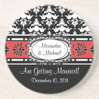 Engagement Party Save the Date Elegant Damask Coaster