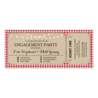 Engagement Party Ticket Red Check Rustic Invite