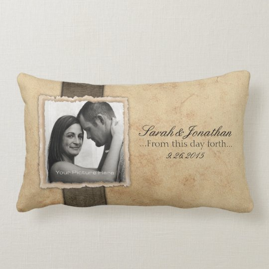 Engagement Photo Rustic Vintage Wedding Lumbar Pillow