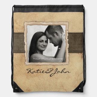 Engagement Photo Rustic Vintage Wedding Backpack