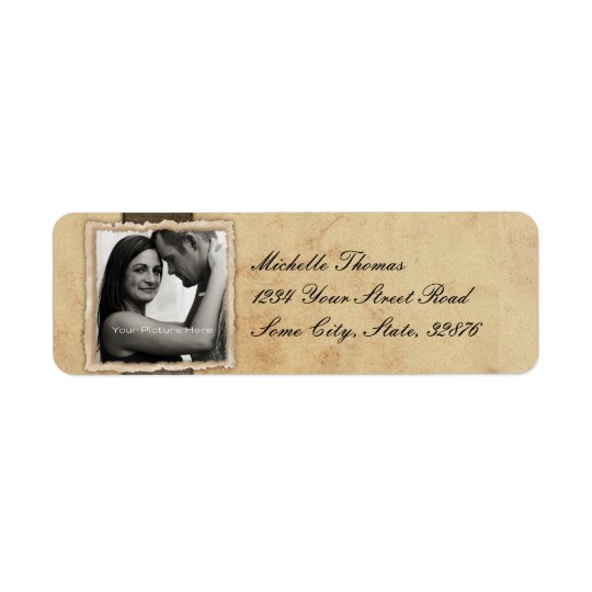 Engagement Photo Rustic Vintage Wedding Return Address Label