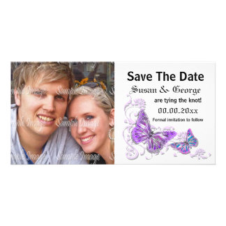 Engagement purple blue photo PERSONALIZE Personalized Photo Card