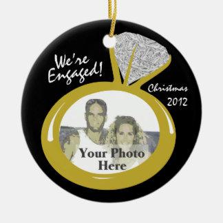 Engagement Ring Photo Round Ceramic Ornament