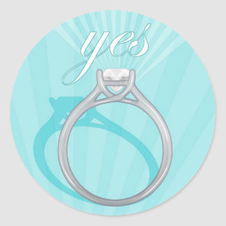 "Engagement Ring ""Yes"" - blue Classic Round Sticker"