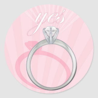 "Engagement Ring ""Yes"" - pink Classic Round Sticker"