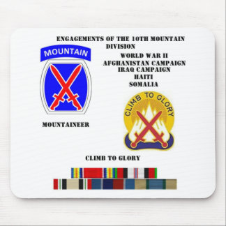 Engagements of  the 10th Mountain division Mouse Pad