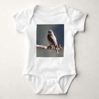 Engaging Western Bluebird Sits On End Of Twig Baby Bodysuit