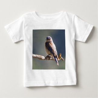 Engaging Western Bluebird Sits On End Of Twig Baby T-Shirt