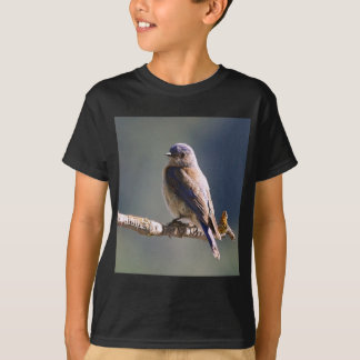 Engaging Western Bluebird Sits On End Of Twig T-Shirt