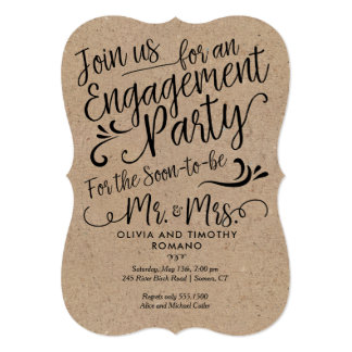 Engagment Party Script Typography, Kraft Card
