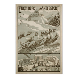 Engelberg Wintersport,Switzerland,Ski Poster
